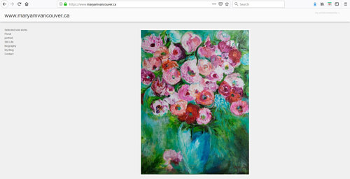 A screen capture of Maryam Vancouver's art portfolio website
