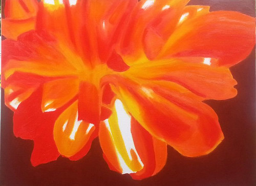 An oil painting of an orange tulip