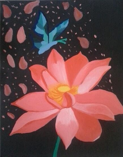 An oil painting of a pink flower
