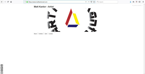 The front page of Matt Kantor's art portfolio website