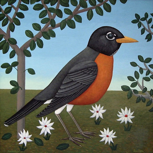 A stylized painting of a robin