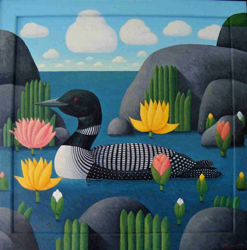 A painting of a loon on the water