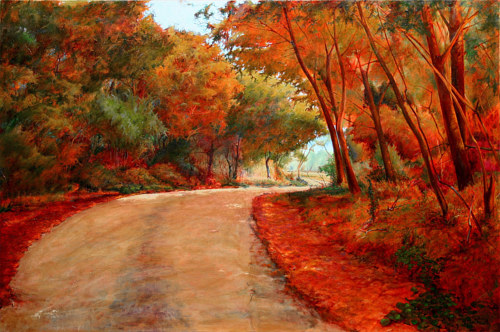 A painting of a back road through red trees