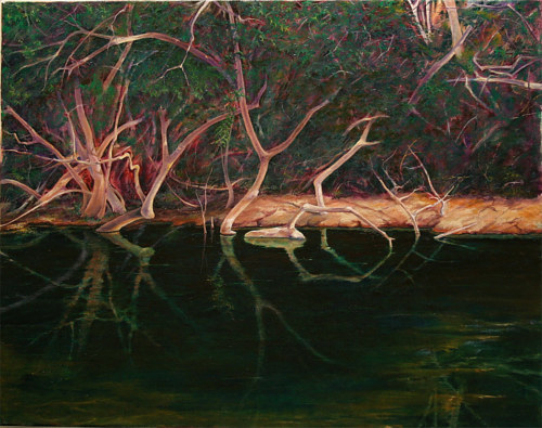 A painting of still water reflecting tree roots