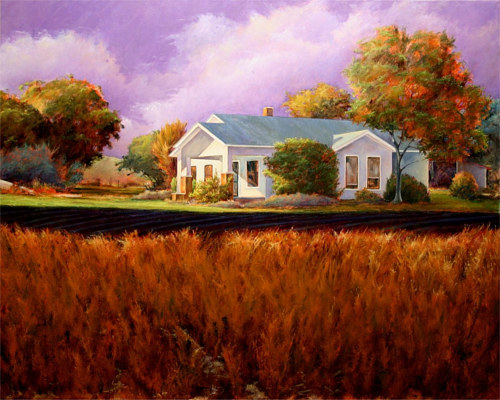 A painting of a white farmhouse in texas