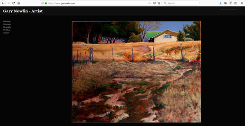 A screen capture of Gary Nowlin's art portfolio website