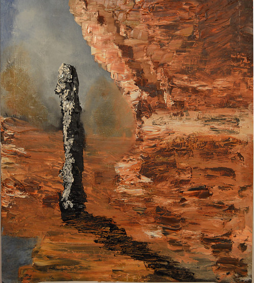 A painting of a stone monolith
