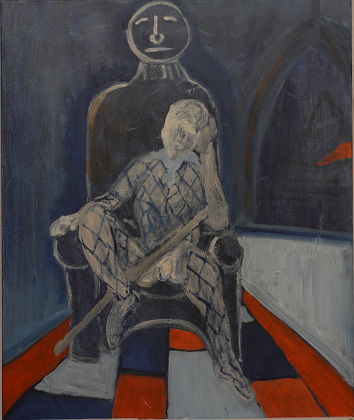 A dark painting of a seated figure