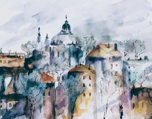 A watercolour painting of a cityscape