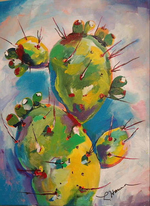 A painting of a prickly pear cactus