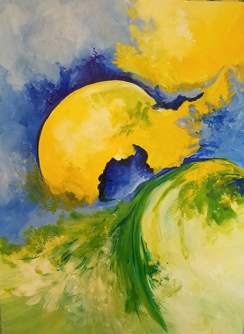 A bright abstract painting with blue and yellow tones