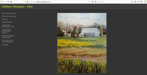 A screen capture of Kathleen Willingham's art portfolio website