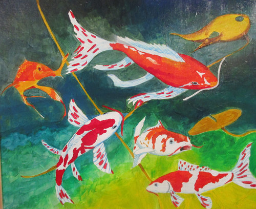 A painting of koi fish swimming in a pond