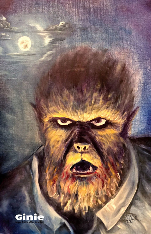 An oil painting of a werewolf for a magazine cover