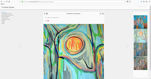 A screen capture of Patrick Harris' art portfolio website