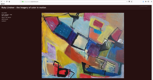 The front page of Ruby Lindner's art portfolio website