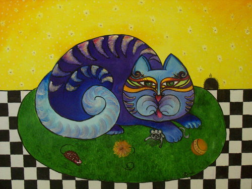 A stylized oil painting of a cat