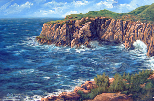 A painting of a sweeping seascape with cliffs
