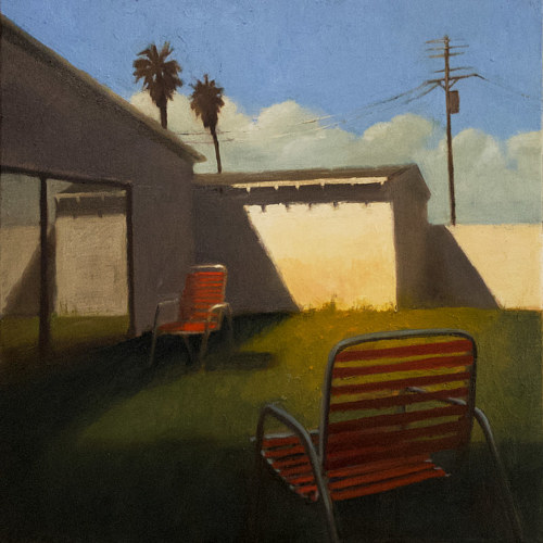 A painting of two lawn chairs in an empty yard
