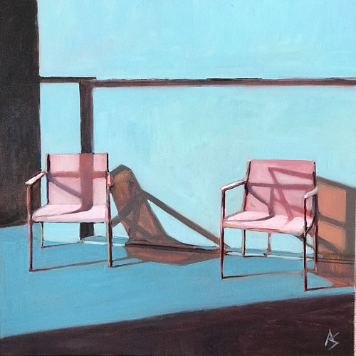 A painting of two chairs casting shadows on a blue wall