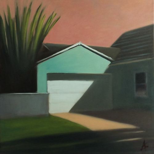 A painting of a shaded exterior of a suburban home
