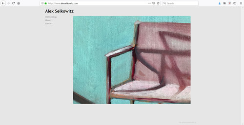 The front page of Alex Selkowitz' art website