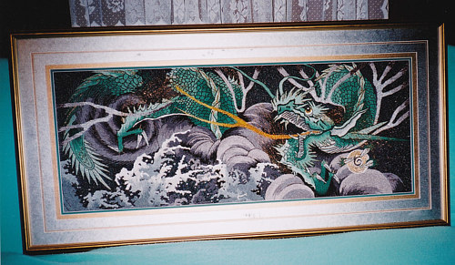 A bunka embroidered image of a dragon