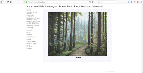 The front page of Mary Lee Chisholm's Bunka art website