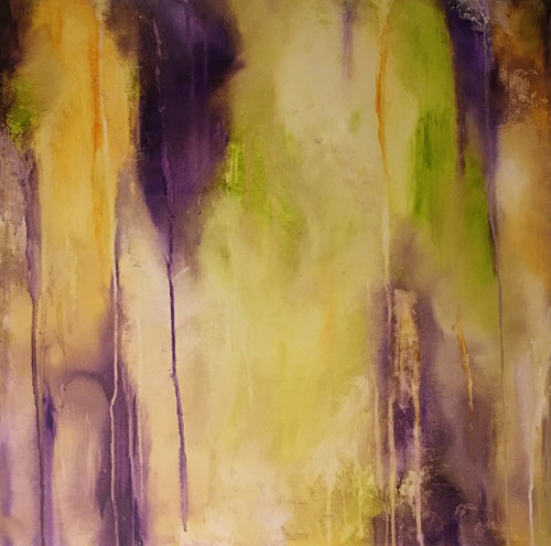An abstract painting with purple and yellow tones
