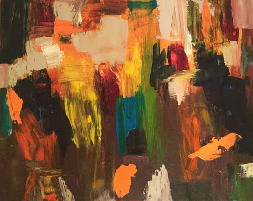An abstract painting with defined brush marks in a variety of colours