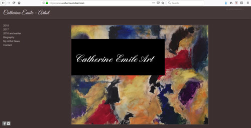 The front page of Catherine Emile's art portfolio website