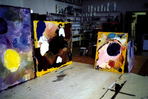 A photograph of Jules Olitski's art studio