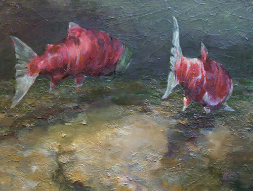 A mixed media painting of spawning salmon