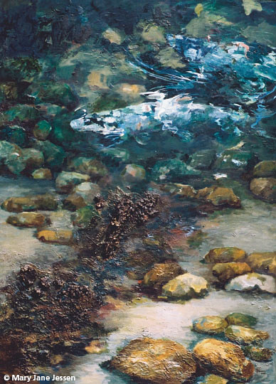 A painting of spawning salmon seen from above water