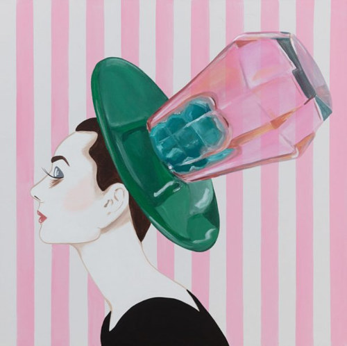 A painting of Audrey Hepburn with a Ringpop on her head