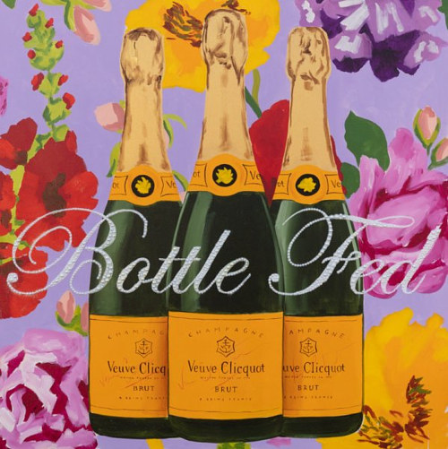 A painting of three champagne bottles on a floral background
