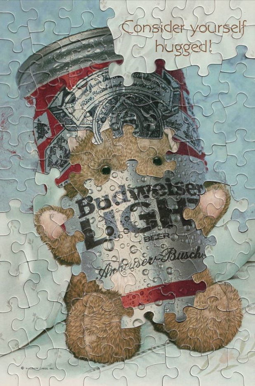 An artwork made from puzzles of a bear and a beer can