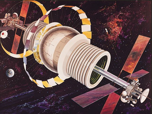 An illustration of a space-faring probe