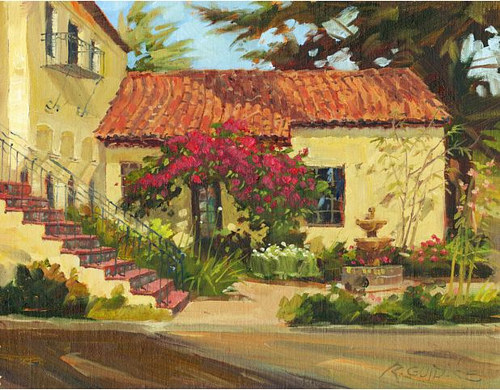 A painting of the exterior of a sunny villa