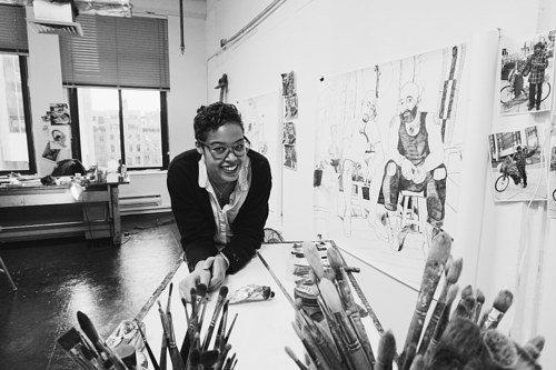 A photo of Jordan Casteel in her art studio