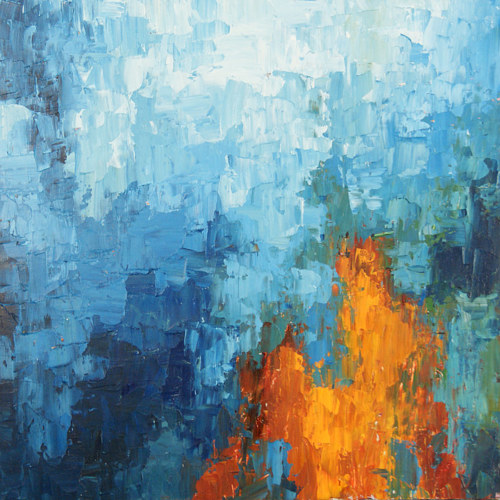 A painting made using blue and orange hues