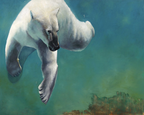 A painting of a polar bear swimming underwater