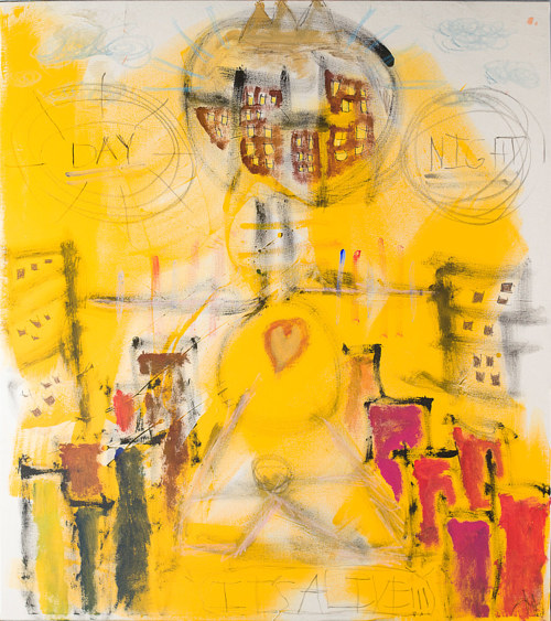 A painting made primarily with yellow hues and sketch-style figures