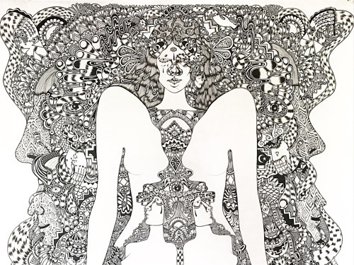 A detailed pen and ink drawing of a mythical goddess