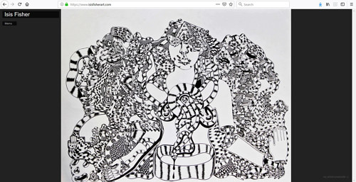 A screen capture of Isis Fisher's art portfolio website
