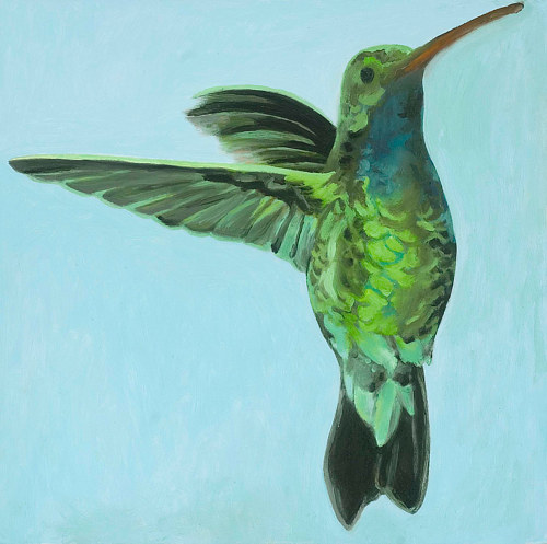 A painting of a hummingbird in flight