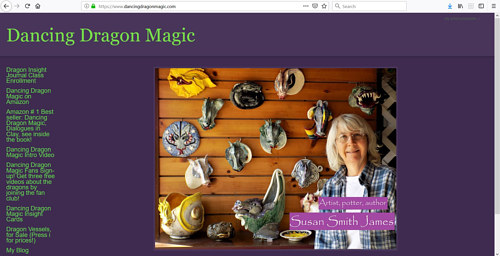 A screen capture of Dancing Dragon Magic, Susan Smith James' portfolio website