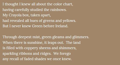 An excerpt from a poem about the colour green
