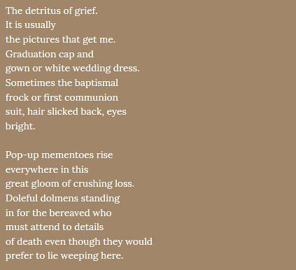 An excerpt from a poem about grief and mourning