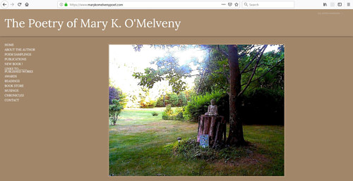 The front page of Mary K. O'Melveny's art portfolio website